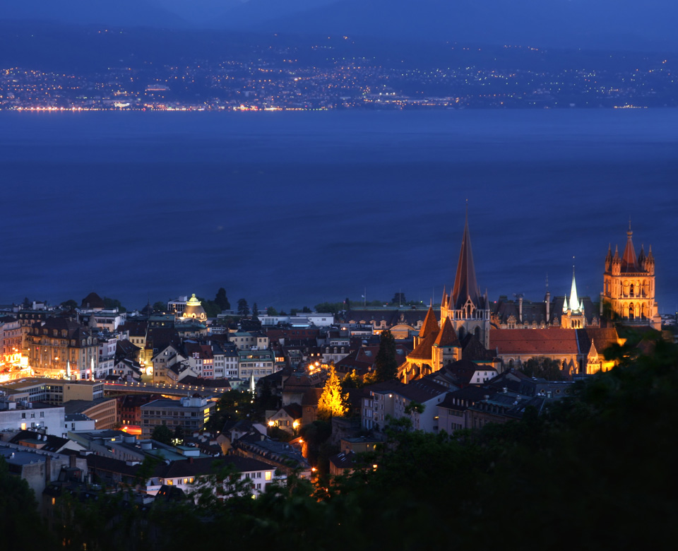 View of Lausanne and Geneva's Lake by night
