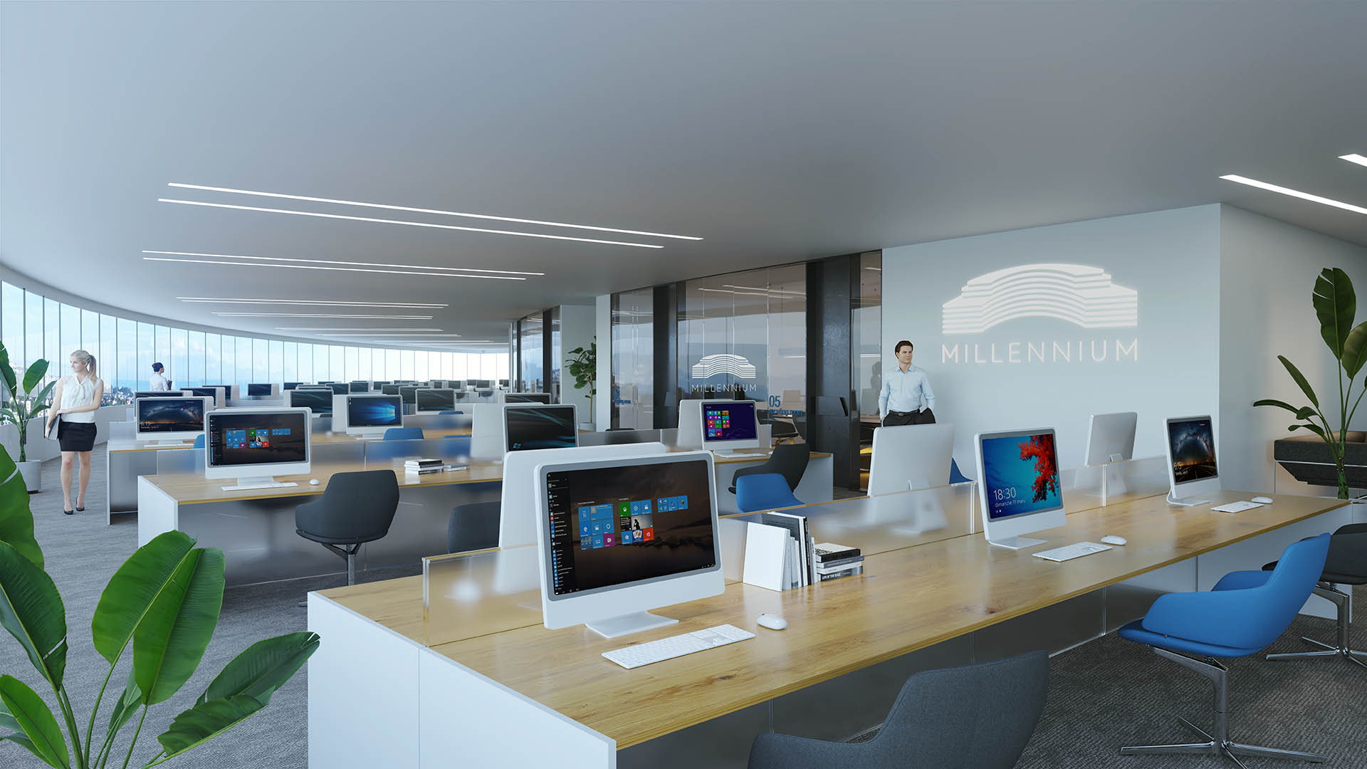 Millennium open space office with workplaces
